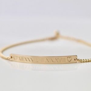 Jewelry - 14K Gold Filled Custom Engraved Bar Bracelet